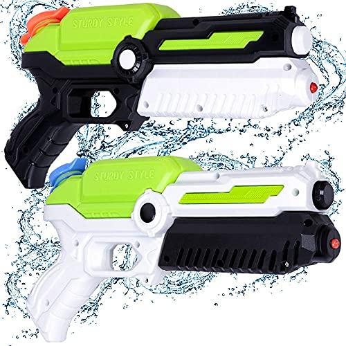 MOZOOSON Juguetes para Niños de 3-8 Años, 2 PCs Pistola de Agua con 400 ml, Super Pistola Power Water Gun con Alcance Largo...