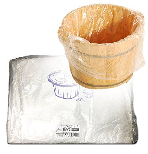 Sesiomworld Pedibag Bolsa de Plástico Especial Pedicura para La Protección de Pediluvio o Bañera, Paqute de 100 unidades 100 Unidades 500 g