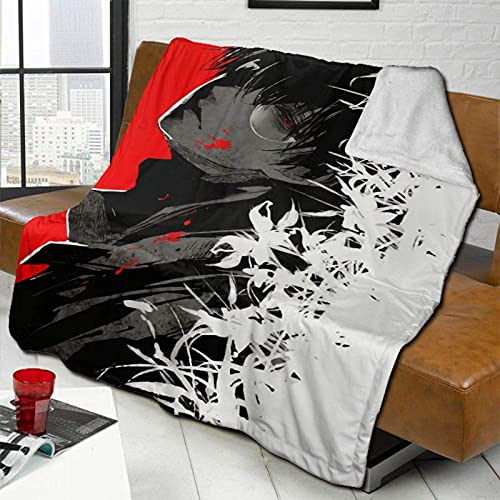 Manta de forro polar Tokyo Ghoul-Kaneki Ken suave y cálida manta de felpa ultra suave sofá cama 80 x 60 pulgadas