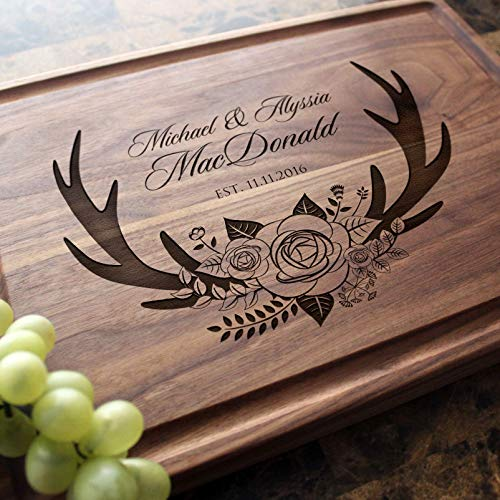 Reunion Wedding Birthday Christmas Personalized Oval Monogram 043 Personalized Wood Cutting Board or Cheese Board Thanksgiving