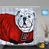 Janrely Shower Curtain for Home Decor,Georgia Bulldog UGA X College Mascot,Fabric Bathroom Curtain Durable WaterproofBath Curtains Sets with 12 Hooks,72 x 72 inches