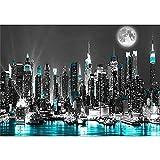 Kingkoil Nueva York 5D Diy Diamond Pintura Nueva York Negro Y Azul Punto De Cruz Bordado Hecho A Mano Hobby Decoración Del Hogar Regalo 60x90cm NoFramed