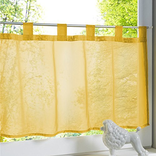 Yujiao Mao 1Pc Tab Top Short Curtain Semi Sheer Voile Cafe Curtains Gold, 120x45cm