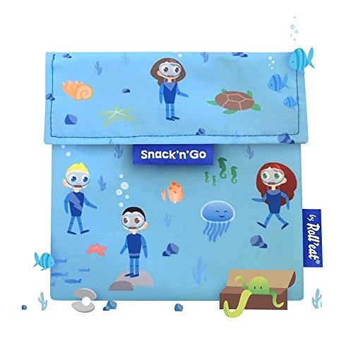 Roll'eat - Snack'n'Go Kids - Bolsa Merienda Porta Sandwich Ecológica y Reutilizable sin BPA, Ocean