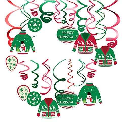 JoyTplay 30 stks vrolijke kerst Swirls slinger groene rode folie opknoping plafond decoratie voor Kerstmis Winter Wonderland vakantie lelijke kerst trui Party Decor benodigdheden