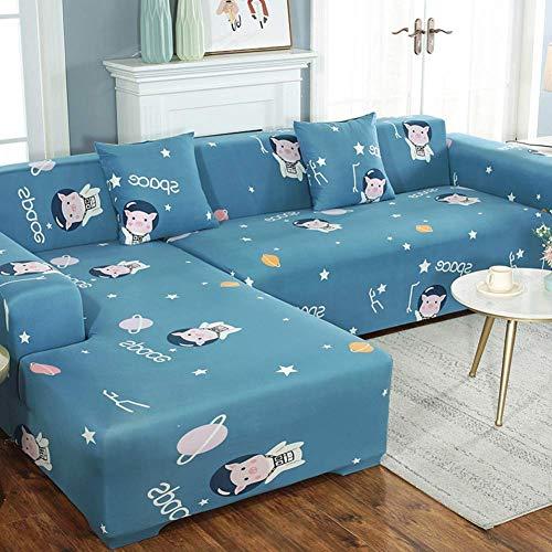 MWPO Funda de sofá elástica Fundas de sofá Estampadas Funda de sofá para sofá en Forma de L Funda Protectora de 1 Pieza para Muebles con Base elástica en Forma de L 3 + 3 Asientos