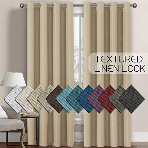 H.VERSAILTEX Linen Curtains Room Darkening Light Blocking Thermal...