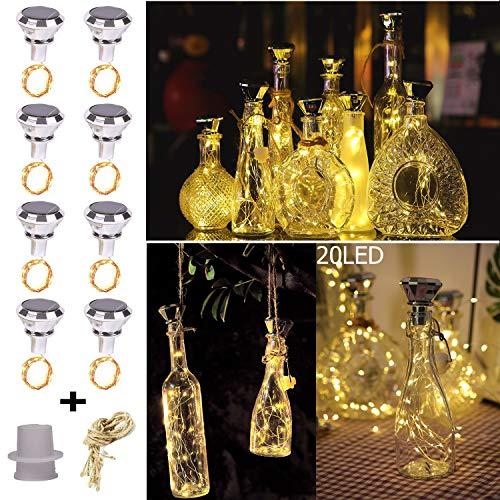 KZOBYD 8 Stück Solar Diamant Flaschenlichter Kreative Flaschenkorken mit Lichtern 20 LED Weinflaschen-Lichter Kork Lichterkette Solar Powered für Garten Terrasse Outdoor Tischdekoration (warmes Weiß)