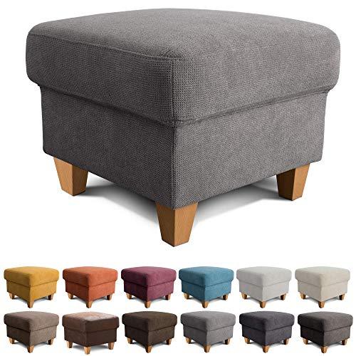 Cavadore Hocker Finja / Polsterhocker im Landhausstil / Fußbank für\'s Wohnzimmer passend zum Sessel Finja / 59 x 47 x 59 / Webstoff Grau