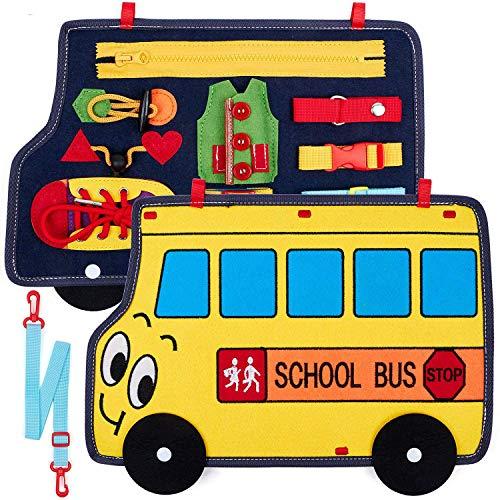 vamei Activity Board Baby Aktivitätsbrett Lernspielzeug für Kleinkinder Beschäftigtes Brett Spielbrett Motorikbrett für Kleinkinder Grundfertigkeiten Montessori Spielzeug