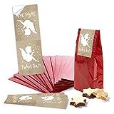 10 rote Papiertüten mit Pergamin-Einlage 7 x 4 x 20,5 cm + 10 ENGEL-Aufkleber FROHES FEST beige weiße Sterne 5 x 15 cm Geschenktüten Verpackung Weihnachtstüten