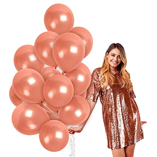 Metallic Rose Gold Balloons 100 Pack - Rose Gold Latex Balloons 12 Inch for Princess Sweet 16 Birthday Engagement Baby and Bridal Shower Graduation Wedding Disco Bachelorette Party Decorations