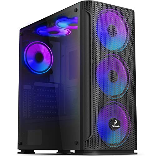 Pansonite Mesh Black Airflow ATX Mid-Tower Chassis PC Gaming Case with Tempered Glass Side Panel, E-ATX Supported, 6 RGB Fans Pre-Installed (M01-DS6-0)