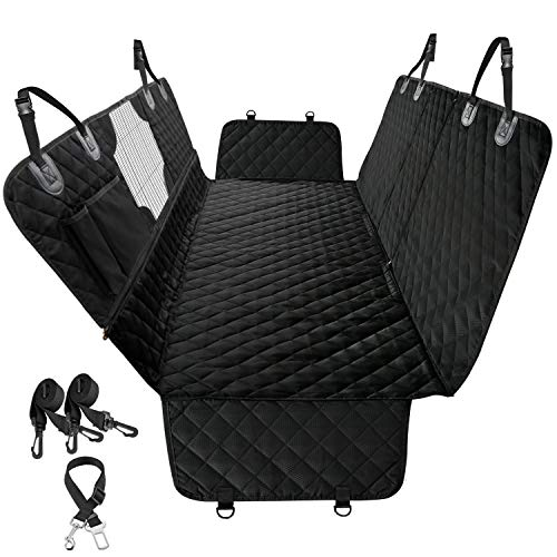 All-in-One Waterproof Dog Car Seat Cover with Mesh Window, Nonslip Durable Soft Pet Back Seat Bench Covers for Cars Trucks and SUVs, Scratchproof Hammock for Dogs Backseat Protection, Black