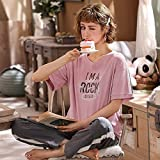 ZJHZN 2020 Verano Algod¨®n Manga Corta Pantalones Largos Conjuntos de Pijamas para Mujeres Ropa de Dormir Traje Ni?as Pijamas Lindos de Dibujos Animados Ropa de casa Ropa para el hogar, A2063, M