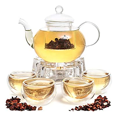 9 PCS Glass 28oz Tea Kettle Infuser Gift Set,Borosilicate Glass Teapot with removable glass strainer, 4 cups of 2oz (60 ml) each, & Glass Crystal Warmer Heating Base By Moss & Stone.