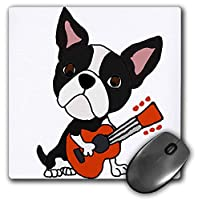 3dRose Mouse Pad Funny Cute Boston Terrier Puppy Dog is Playing The Guitar - 8 by 8-Inches (mp_260968_1) [並行輸入品]
