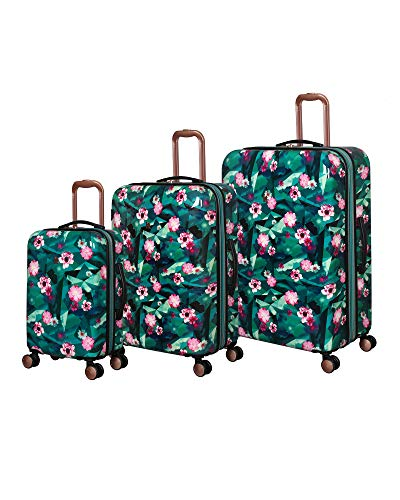 it luggage Sheen Hardside Expandable 3 Piece Set, Sporty Geo Floral Teal/Pink
