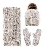 Women Fashion Winter Warm Knit Scarf and Hat Set Skull Caps Winter Set,Mix Beige