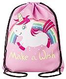 Aminata Kids – Sacca da ginnastica per bambine e donne con unicorno, cavalli, animali domestici, unicorno, borsa sportiva, sacca sportiva, borsa da ginnastica, colore bianco, rosa, arcobaleno, stelle