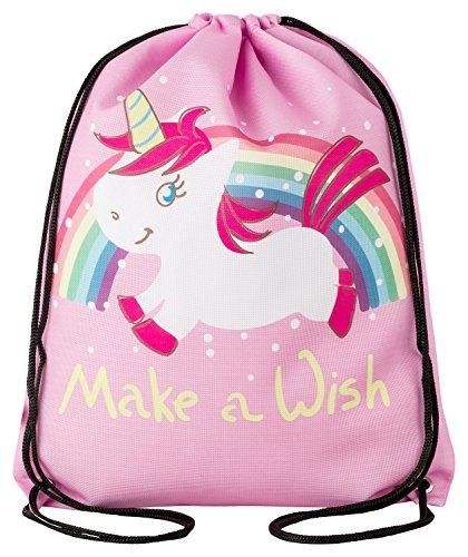 Kinder-Turnbeutel für Mädchen mit Einhorn-Motiv Unicorn Sport-Tasche-n Gym-Bag Sport-Beutel-Tasche Weiss rosa pink