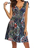 Women's Retro Casual Low-Cut V-Neck Floral Printed Above Knee Sundresses Navy Blue XL