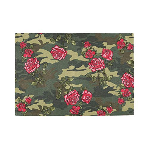 Nostalgic Crossweave Woven Placemats for Dining Room Kitchen Table Decor, Set of 4, Camouflage Rose