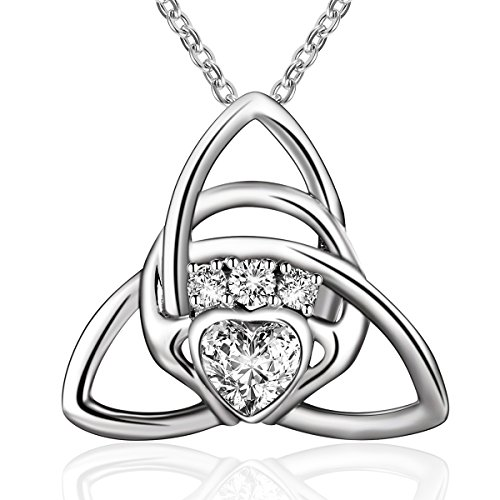 BLOVIN 925 Sterling Silver Love Heart Celtic Knot Claddagh Pendant Necklace Irish Jewelry Gifts for Women Girlfriend Mom Wife