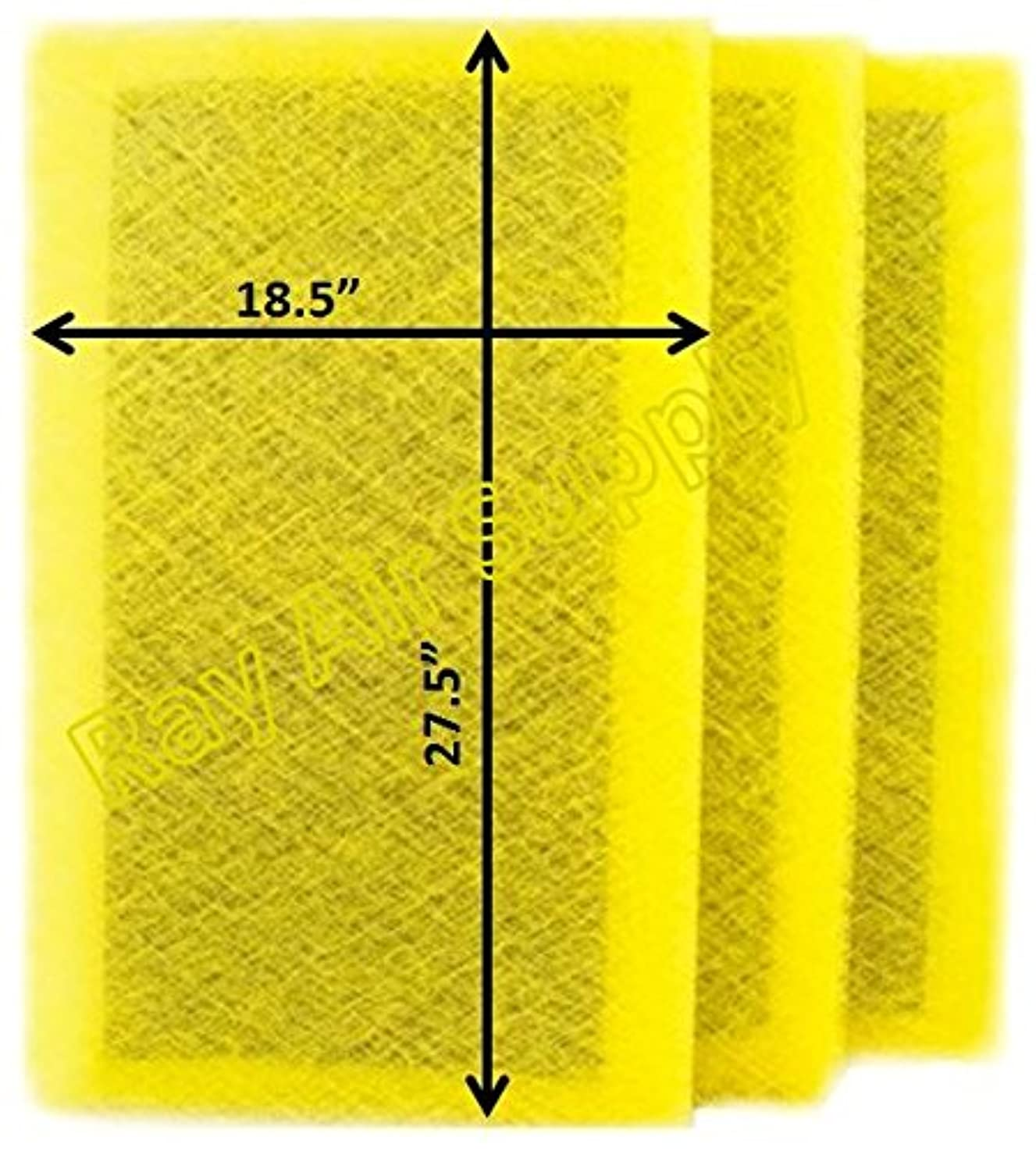 RAYAIR SUPPLY 20x30 MicroPower Guard Air Cleaner Replacement Filter Pads (3 Pack) Yellow