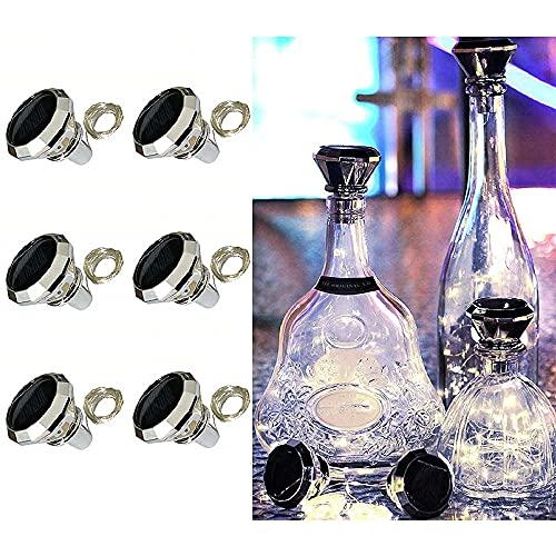 ADLOASHLOU 6 Stück Solar Flaschen Licht 20 LEDs 2M Solar Lichterkette für Flasche LED Diamant Lichterketten Stimmungslichter Solar Weinflasche Kupferdraht für Flasche DIY, Dekor cool