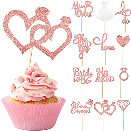 48 Pieces Rose Gold Bride Shower Cupcake Topper Glitter Wedding Cupcake Picks Diamond Ring Heart Cake Topper for Wedding Engagement Party Shiny Cake Decorations