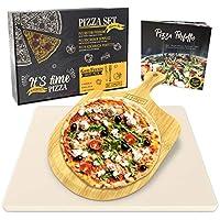PIZZA WIE BEIM ITALIENER: Mit dem Pizzastein Set verwandelst Du deinen Backofen in eine kleine italienische Pizzeria und erfreust dich an der perfekten Mischung aus locker, luftigem Belag und knusprigem Boden. PIZZASTEIN FÜR GRILL UND OFEN: Unser Piz...