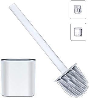 Brosse WC Silicone et Supports - Brosse Toilettes WC Nettoyante en Profondeur,Balayette WC avec Long Manche en Plastique A...