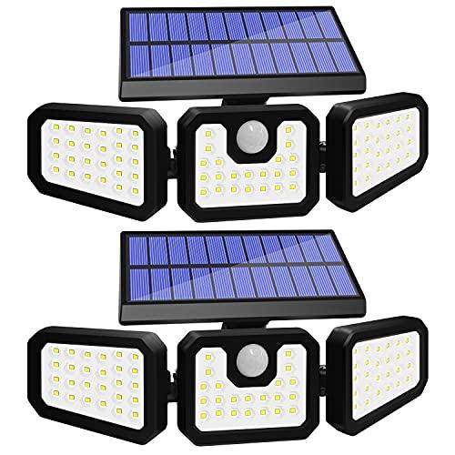 Solar Lights Outdoor Motion Sensor, 3 Adjustable Heads Solar Motion Sensor Light Outdoor, IP65 Waterproof Security Lights 270° Wide Angle Flood Lights for Porch Garden Patio Yard Garage, 2 Pack