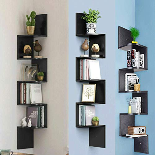Corner Shelf, 5-Tier Wall Mounted Storage Display Floating Wall Shelf with Zigzag Design, Bookshelf