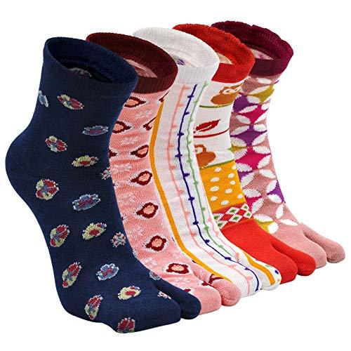 Tabi Socks - Calcetines de algodón para mujer, 2 puntos, calcetines kimono de la novedad, calcetines japoneses, patrón de Sakura tobillera, talla 4-9, 4/5 pares, Multicolored-5 Pairs,