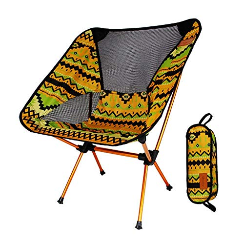 OUTAD - Silla portátil de aleación de aluminio para exteriores, ligera, plegable, para camping, pesca, viajes, con respaldo y bolsa de transporte ⭐