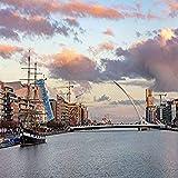 Title=Jeanie Johnston Tall Ship and Samuel Beckett Bridge over the River Liffey in downtown Dublin, Ireland Artist=Chuck Haney Product Type=Fine Art Print Publisher=Danita Delimont