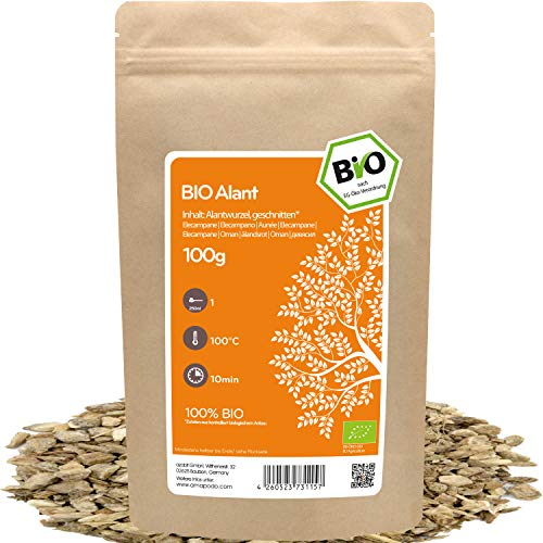amapodo Bio Alant Tee lose 100g Alantwurzel geschnitten für Alanttee