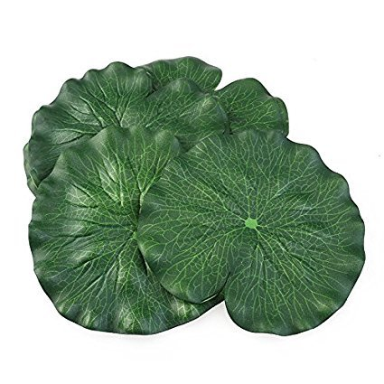 10pcs fuhaoo Fleurs Artificielles, Floating Lotus Feuilles Aquarium Poisson Bassin piscine Nénuphar feuilles Décoration