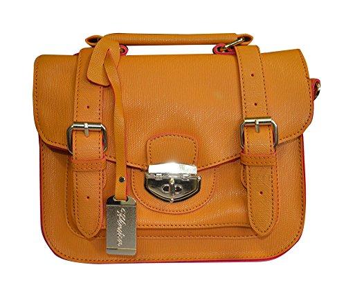 New Womens Cross Over Body Mini Small Contrast Trim Satchel Faux Clip fashion Bag (Tan)