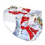 Blingko 50 Stück Mundschutz Weihnachten Erwachsene mit Motiv Einweg Bunt MNS Mund Nasenschutz Cartoon Druck Atmungsaktiv Multifunktionstuch Mundbedeckung Bandana Halstuch Schals