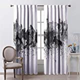 hengshu Insulated Blackout Curtains 72 Inch Lenght Monochrome Vegas Skyline Multicolor Farmhouse Curtains for School 72x72 Inch