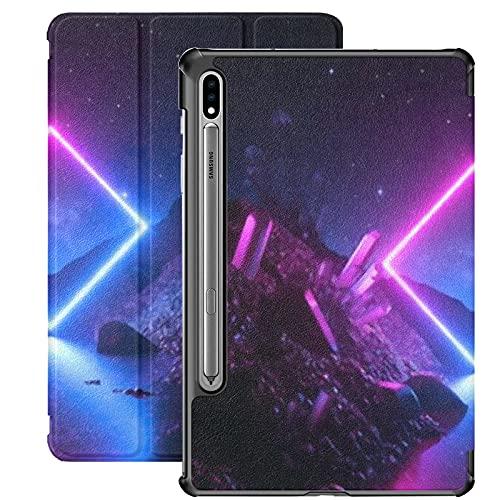 Estuche para Galaxy Tab S7 Estuche Delgado y liviano con Soporte para Tableta Samsung Galaxy Tab S7 de 11 Pulgadas Sm-t870 Sm-t875 Sm-t878 2020 Release, 3D Render Abstract Neon Background Mystical