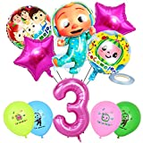 JOYET Cocomelon Birthday Party Supplies, Cocomelon Aluminum Foil Balloons, Includes 4pcs 12' Latex Balloons,Star Foil Balloons and 1pcs Number 3 Pink Foil Balloons for JJ Melon Theme Party Kids 3rd Girl Birthday Party Decorations