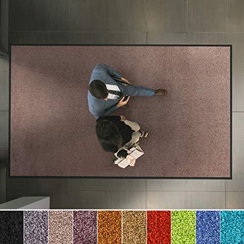 Hochwertige Fußmatte | schadstoffgeprüft | bewährte Eingangsmatte in Gewerbe & Haushalt | Schmutzfangmatte mit Top-Reinigungswirkung | Sauberlaufmatte waschbar & rutschfest (90x150 cm, Beige-Rosé)