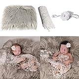 Camidy Baby Foto Requisiten 3 Stück Baby Flauschige Decke + Neugeborenen Wickel + Blumen Stirnband Set Jungen Mädchen DIY Fotografie Outfits
