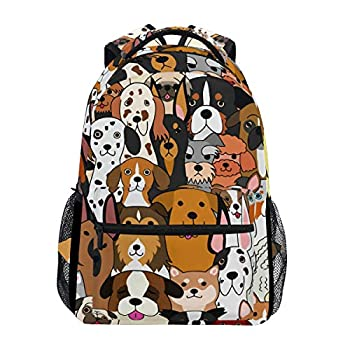 ALAZA Cute Doodle Dog Print Animal Large Backpack for Kids Boys Girl School Personalized Laptop iPad Tablet Travel School Bag with Multiple Pockets