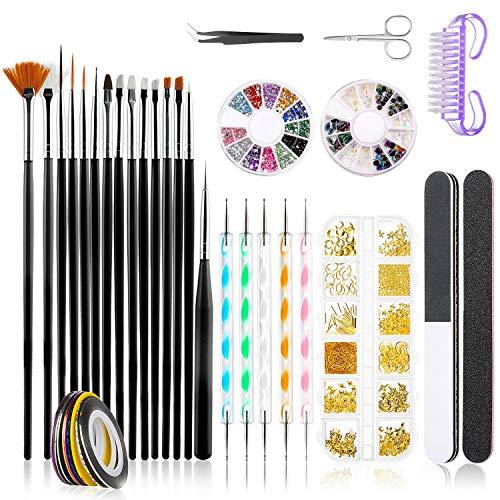 Kit de Accesorios Decoración Uñas Nail Art, GuKKK 39 Pcs Suministros de Uñas con Juego, 15 Pinceles para Uñas, Lápiz de Punto, Cintas Adhesivas Uñas, Uñas de Estrás, Kit de Herramientas para Manicura