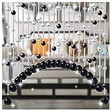 LIQICAI Cristal Cortinas de Cuentas para Puertas, Arqueado Cortinas Secuencia Puerta, Vidrio Pantalla Usado para Porche Sala Cuarto Dividir, Personalizable (Color : Clear+Black, Size : 20 Strands)